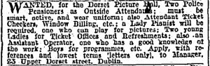 Dorset small ad for staff. Irish Times 20 March 1911: 1.
