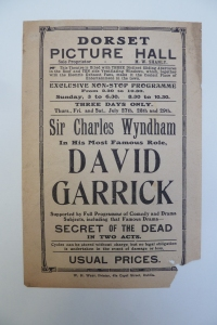 Handbill for M. W. Shanly's Dorset Picture Hall in July 1914, featuring the latest film adaption of T. W. Robertson's play David Garrick.