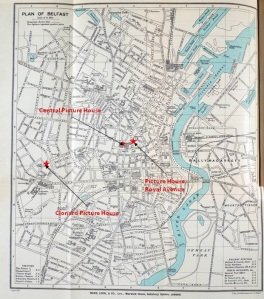 Map of Belfast in 1915 showing Clonard Picture House, Central Picture Theatre and Picture House, Royal Avenue.