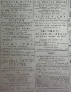 Amusement ads, Belfast Newsletter, 3 Jan. 1914.