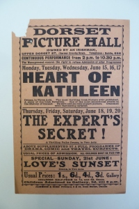 Handbill for films at the Dorset during the week of 15-21 June 1914 with three changes of programme.
