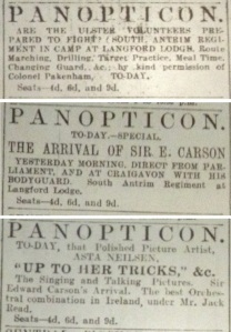 Ads for the Panopticon on 19, 21 and 24 Mar. 1914.