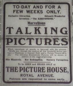Edison Talking Pictures at the Picture House, Royal Avenue, Belfast. Belfast Newsletter 3 Apr. 1914: 1.