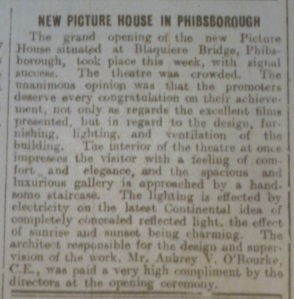 Announcement of hte opening of the Phibsboro Picture House, Dublin Evening Mail, 23 May 1914.