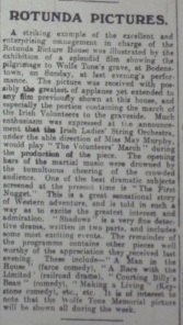 Review of the Rotunda programme that mentioned the rapturous reception of the political film The Annual Pilgrimage to Wolfe Tone's Grave; Evening Telegraph 23 Jun. 1914: 2.