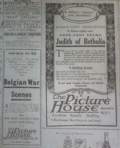 Actuality films of the war appeared on the cinema programme alongside such  fiction film as D. W. Griffith's Judith of Bethulia (US: Biograph, 1914).
