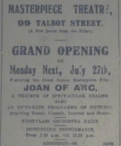 Ad for opening of Masterpiece Theatre, Evening Telegraph 25 Jul. 1914: 1.