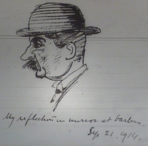 "Joseph Holloway's ""My Reflection in Mirror at Barbers,"" 21 Sep. 1914."