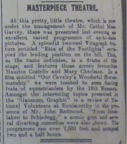 Evening Telegraph review of programme at the Masterpiece, 22 Sep. 1914: 2.