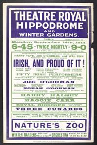 Ad for the Theatre Royal Hippodrome and Winter Gardens, Sep. 1914, featuring film matinees of Nature's Zoo. National Library of Ireland.