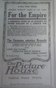 Ad for war films at the Grafton; Dublin Evening Mail, 14 Sep. 1914: 2.