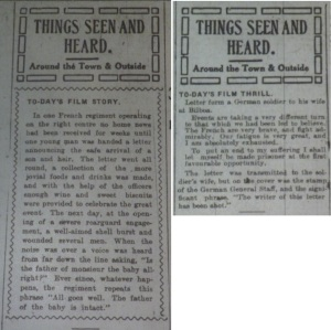"The Man About Town's ""Things Seen and Heard"" column began with items on film on 5 and 10 Oct. 1914: 2."