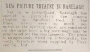 First ad for Sandford Cinema; Evening Herald 3 Nov. 1914: 4.