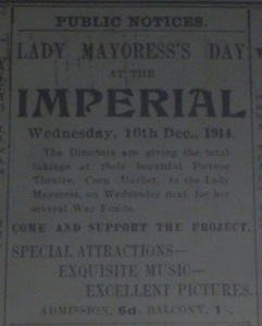 Ad for special war benefit at the Imperial; Belfast Evening Telegraph 14 Dec. 1914: 4.