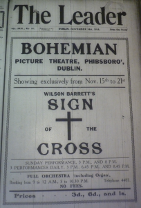 One of the Irish-Ireland journal The Leader rare picture houses ads was this title page one for The Sign of the Cross at the Bohemian in mid-November 1914.