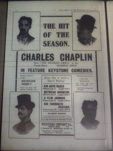 Western Import Co. ad for Chaplin's early Keystone film hails him as the hit of the season and reminds readers of his stage career. Bioscope 9 Jul. 1914: xx.