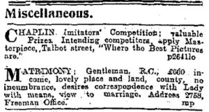 Small ad calling for Chaplin imitators. Freeman's Journal 16 Sep. 1915: 8.