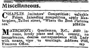 Small ad calling for Chaplin imitators. Freeman's Journal 16 Sep. 1915: 8.