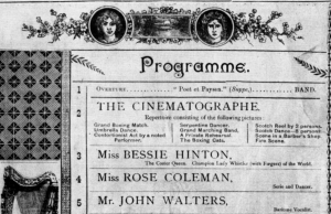 Part of the programme at Dublin's Star Theatre of Varieties at which the first films in Ireland were shown in April 1896.