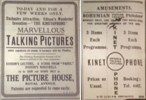 Edison's Kinetophone 1914-15. Irish News 23 Mar. 1914: 8 and Evening Telegraph 25 Jan. 1915: 3.