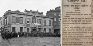We Serve Neither King nor Kaiser banner and its removal from Liberty Hall in Evening Herald 21 Dec. 1914: 1.