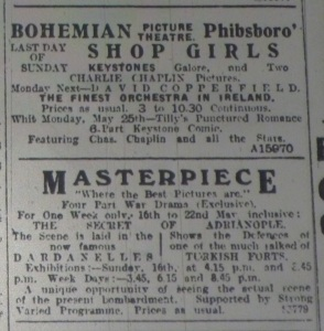 Ad for Dublin's Masterpiece showing The Secret of Adrianople (1913); Evening Telegraph 15 May 1915: 1.