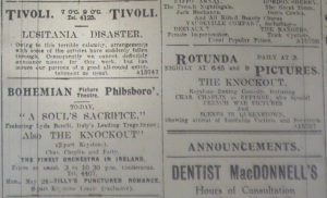Entertainment ads showing impact of Lusitania sinking; Evening Telegraph 10 May 1915: 1.