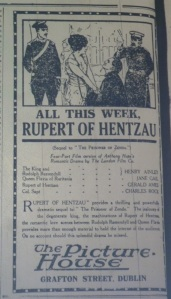 Illustrated ad for Rupert of Henzau (Britain: London, 1915) at Dublin's Picture House, Grafton Street; Evening Telegraph 31 May 1915: 2.