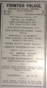 Ad for the Frontier Palace, Newry; Frontier Sentinel 19 Jun. 1915: 4.