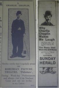 Ads featurng Chaplin, autumn 1915. Left, Evening Telegraph 12 Aug. 1915: 2; right, Dublin Evening Mail 11 Sep. 1915: 5.