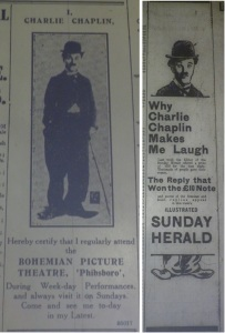 Ads featurng Chaplin, autumn 1915. Left, Evening Telegraph 12 Aug. 1915: 2; right, Dublin Evening Mail 11 Sep. 1915: 5.