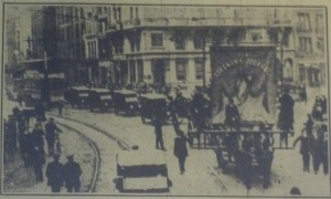 """The Catholic nationalist press supported the Vigilance movement. This photo was captioned """"The Freeman's Journal and 'Evening Telegraph' Section of the Procession, including motor vans."""" Evening Telegraph 6 Sep. 1915: 6."""