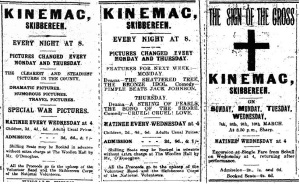 Ads for the Kinemac, 2 Jan., 30 Jan. and 6 Mar. 1915.