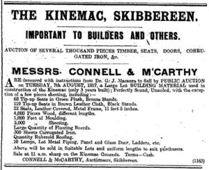 Ad for an auction of the Kinemac's furnishings and building materials. Cork County Eagle 4 Aug. 1917: 4.