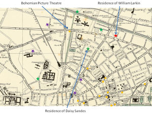 Map showing from where members of the audiences travelled from to get to the Bohemian Picture Theatre on 14 Sep. 1915. Purple stars represent people who supported William Larkin's account of his protest; green stars represent people who challenged Larkin's account. Yellow squares represent picture houses in north Dublin.