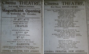Opening of Enniscorthy's Cinema Theatre, Echo Enniscorthy 4 Dec. 1915: 6, and 11 Dec. 1915: 6.