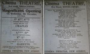 Opening of Enniscorthy's Cinema Theatre, Echo Enniscorthy 4 Dec. 1915: 6, and 11 Dec. 1915: 6.