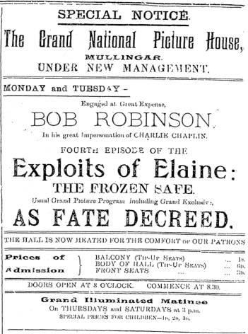 The Exploits of Elaine showing in Mullingar. Westmeath Examiner 26 Feb. 1916: 8.