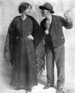 J. M. Kerrigan with Sara Allgood in a 1911 Abbey touring production of The Playboy of the Western World. Image from Wikipedia.