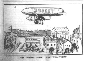 The cinema industry long feared the imposition of crippling taxes, going so far in this cartoon as to identify the British government with the zeppelin raids then terrorizing southeast England. Bioscope 7 Oct. 1915: 16c.
