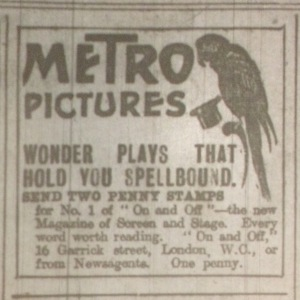 Metro ad featuring Ruffells' parrot, Dublin Evening Mail 6 Mar. 1916: 2.