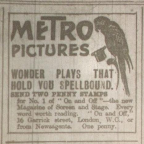 Metro ad featuring Ruffells' parrot, Dublin Evening Mail 6 Mar. 1916: 2.