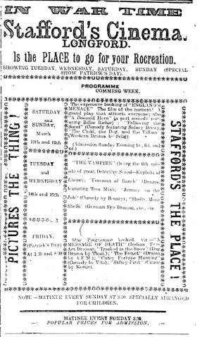 Ad for Stafford's Longford Cinema in St Patrick's week included an episode of The Exploits of Elaine (US: Wharton, 1914), the serial that featured the master criminal the Clutching Hand. Longford Leader 11 Mar. 1916: 3.