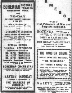 The Bohemian advertises its engagement of Twelvetrees prominent in its Easter programme, beside the Carlton's ad for its attractions, including Erwin Goldwater's solo playing; Dublin Evening Mail 22 Apr 1916: 2.