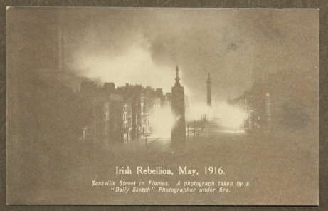 A photograph of Sackville/O'Connell Street in flames. Image from Letters of 1916.