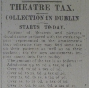 Article explaining rates of Entertainment Tax; Evening Telegraph 15 May 1916: 1.