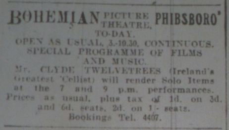 Dublin's Bohemian advertises new tax; Evening Telegraph 15 May 1916: 2.