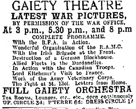 Official war films at the Gaiety; Evening Herald 14 Jun. 1916: 2.