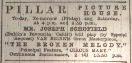Musical attractions at the Pillar; Dublin Evening Mail 1 Jun. 1916: 2.