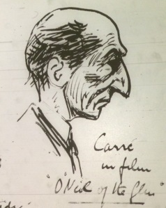 Joseph Holloway saw several films apart from The Birth of a Nation in September 1916, including a second viewing of the Film Company of Ireland's O'Neil of the Glen, at which he sketched actor J. M. Carre.